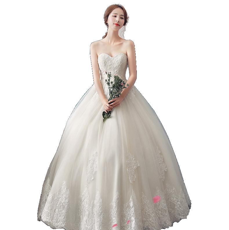 抹胸齐地韩版婚纱